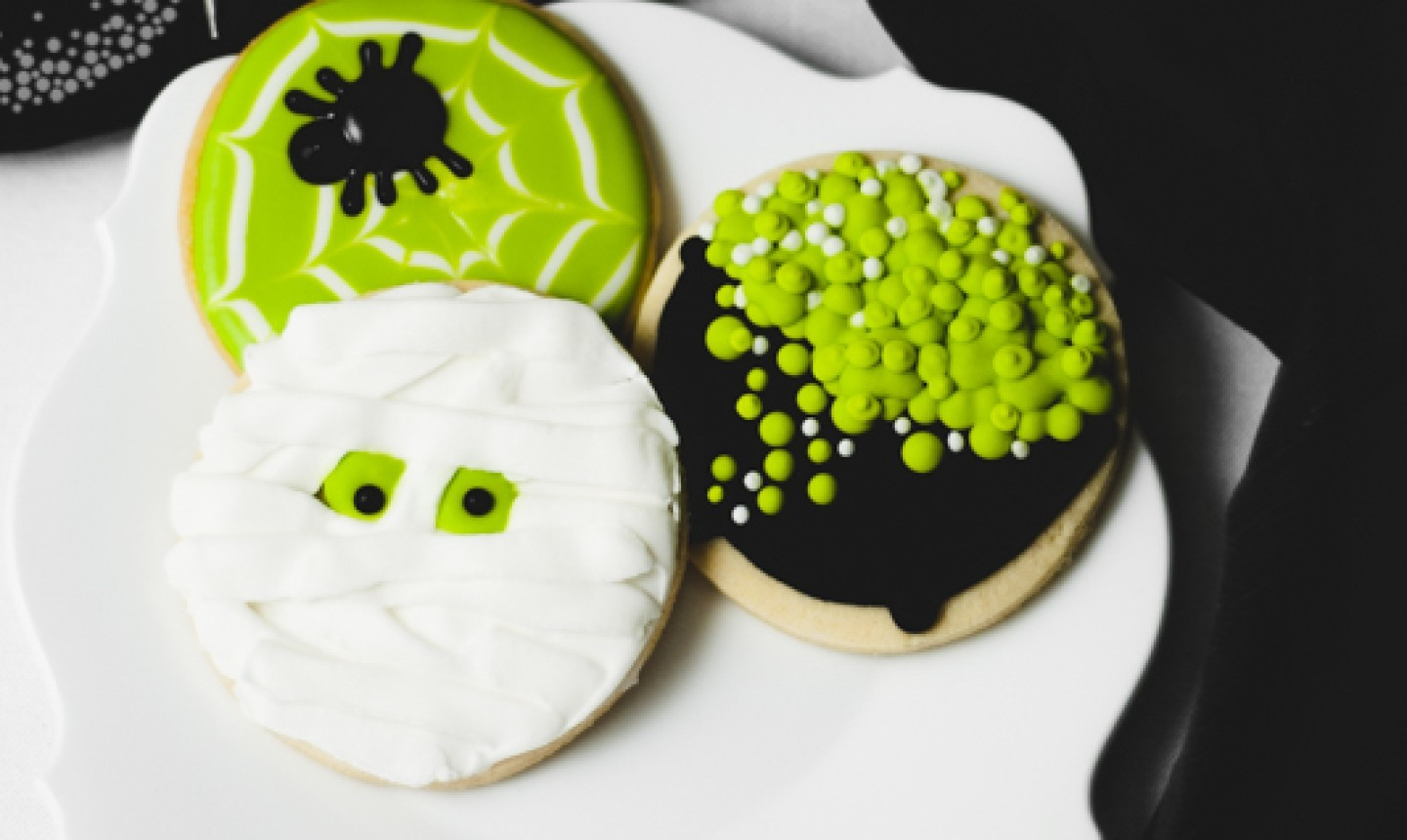 mummy, spider and cauldron halloween cookies