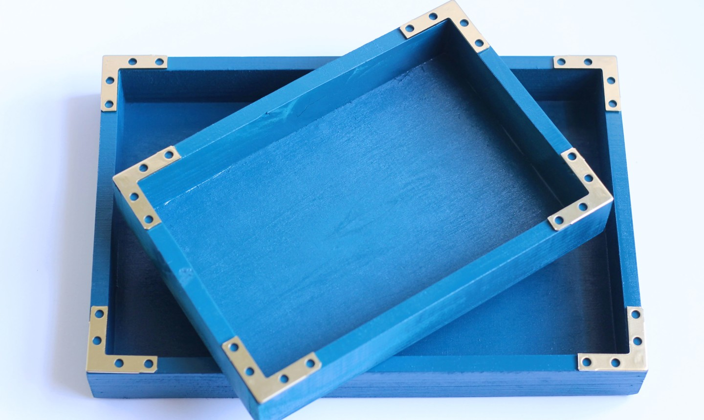 blue painted storage tray