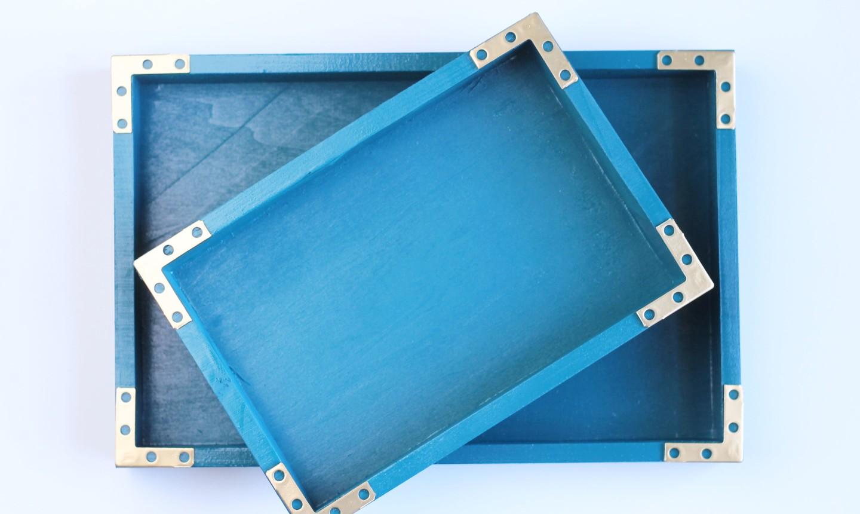finished blue storage trays