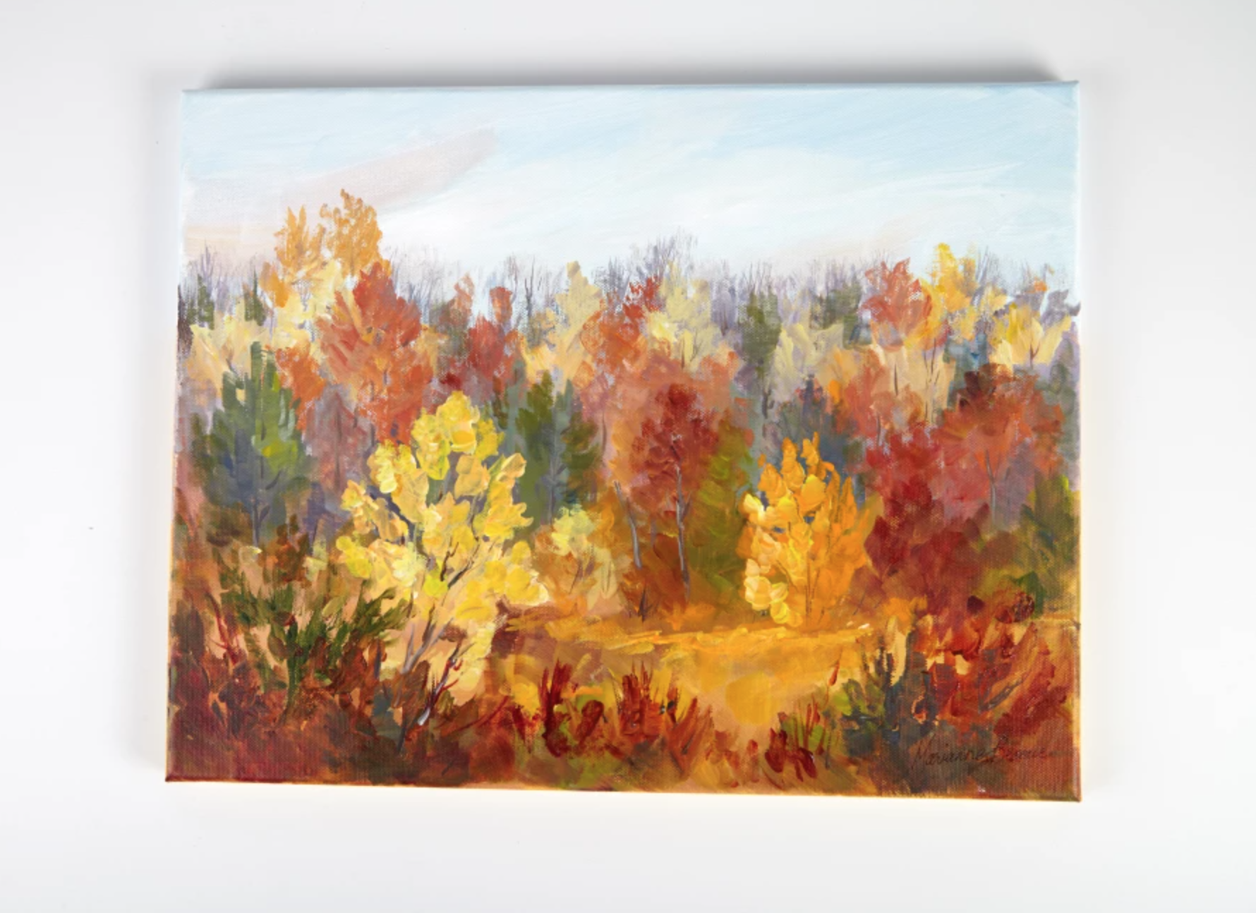 painted autumn trees on canvas