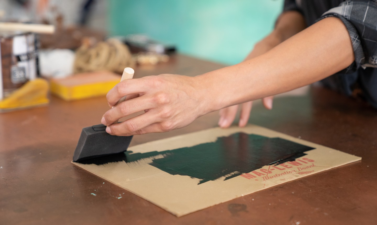 painting cardboard with chalk paint