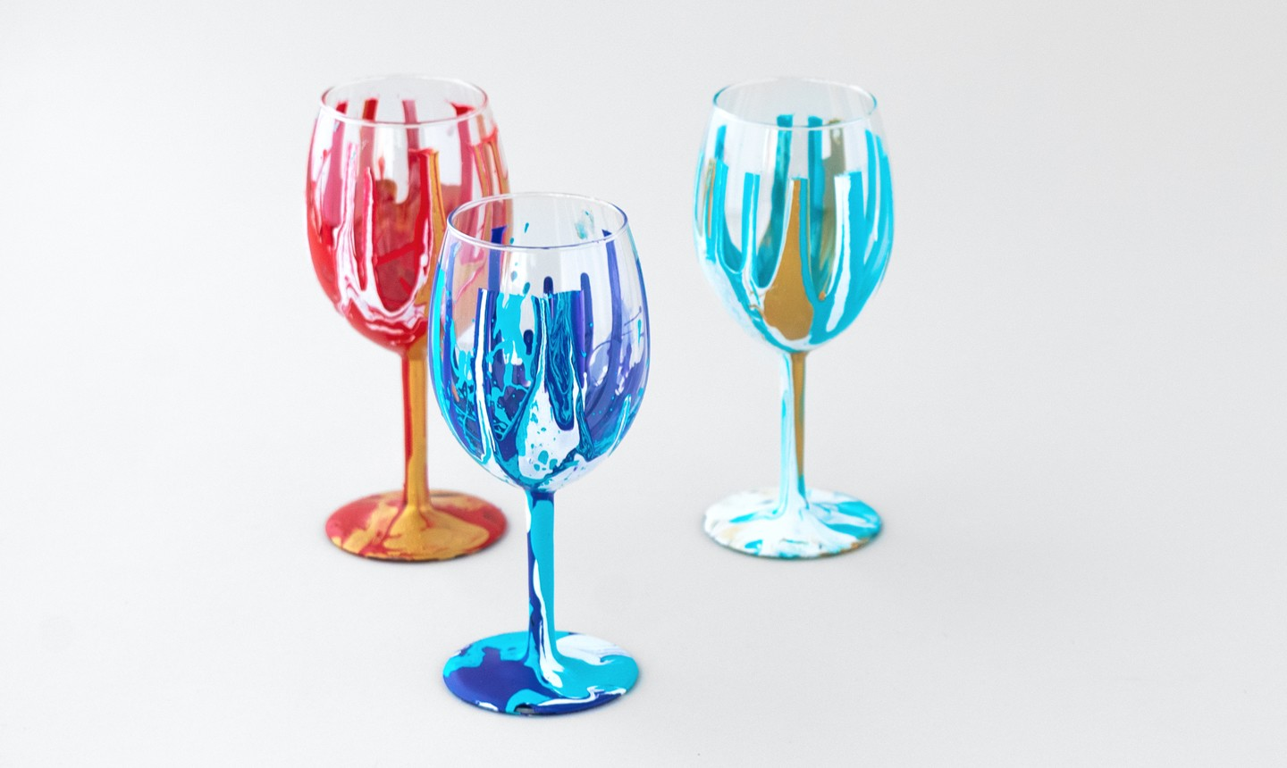 painted pop art wine glasses