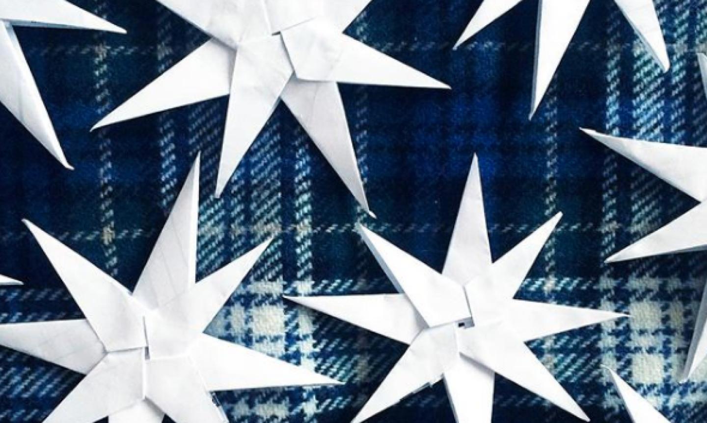 white folded paper stars