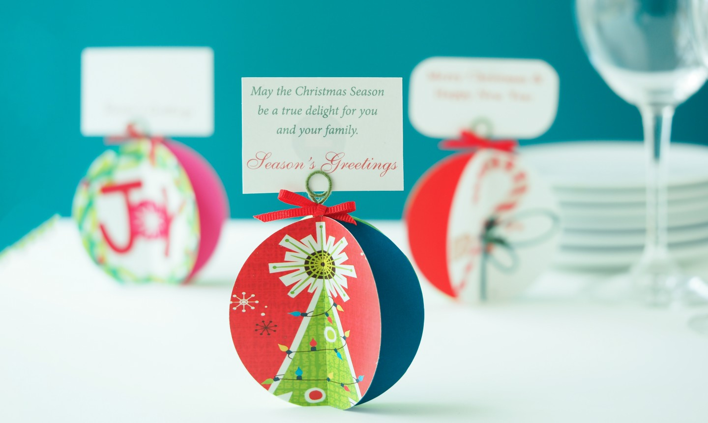 christmas card placecards