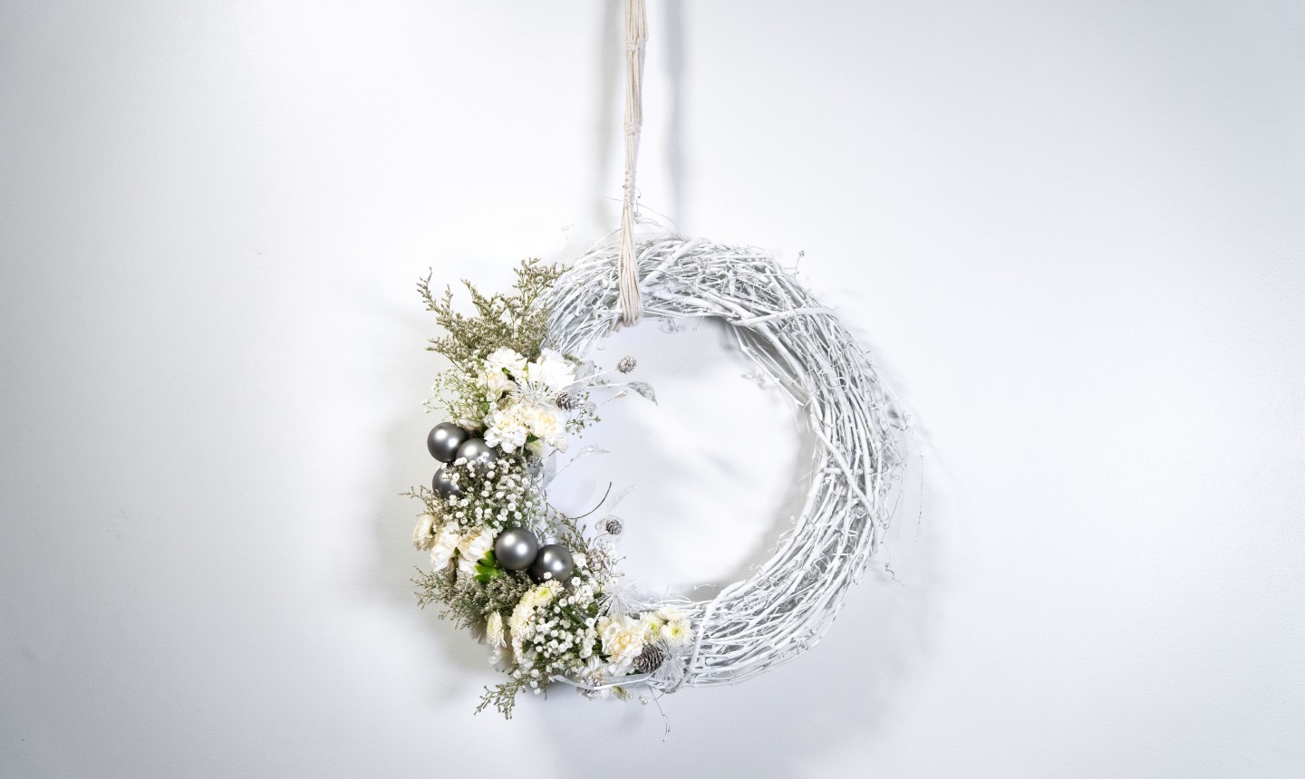 white rustic holiday wreath