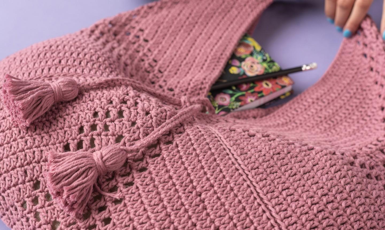 crochet market bag tassels