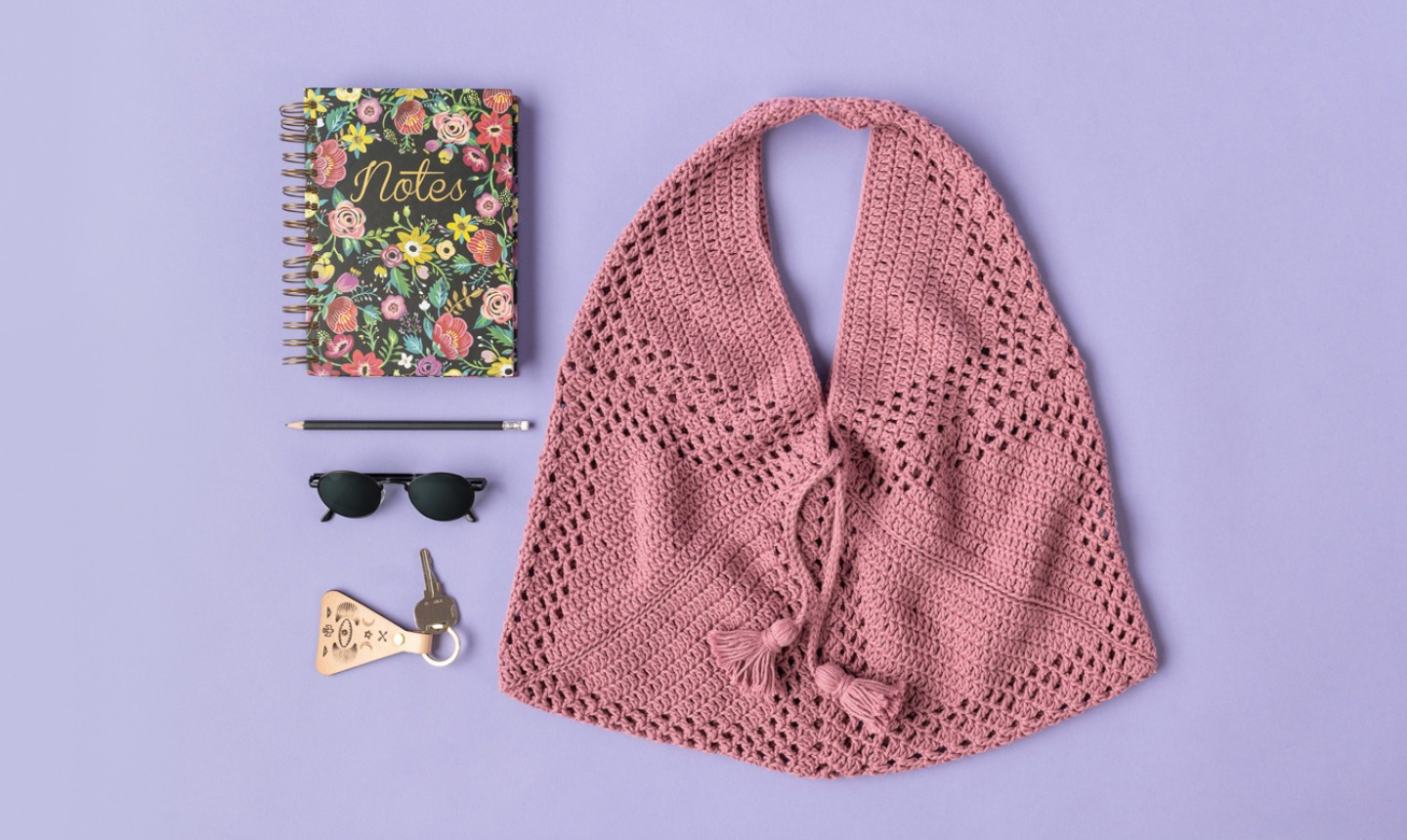 crochet market bag flat lay