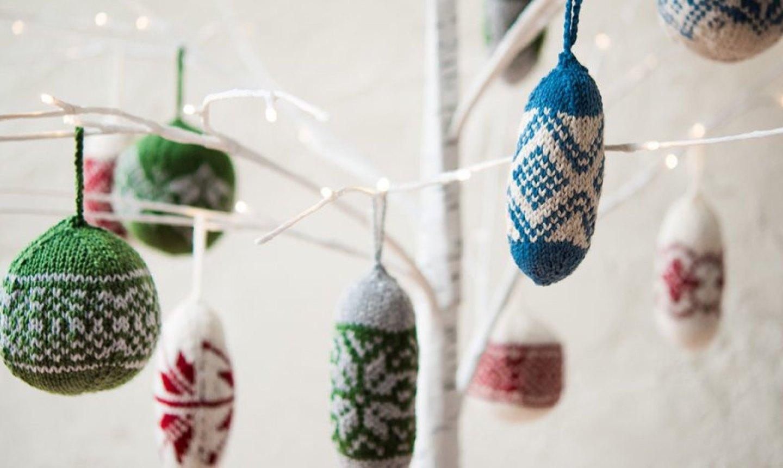 fair isle knit ornaments
