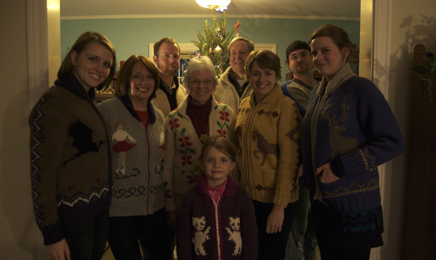 family wearing sweaters