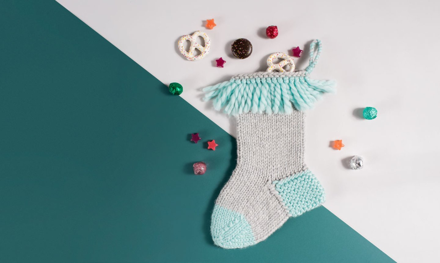 knit fringe christmas stocking