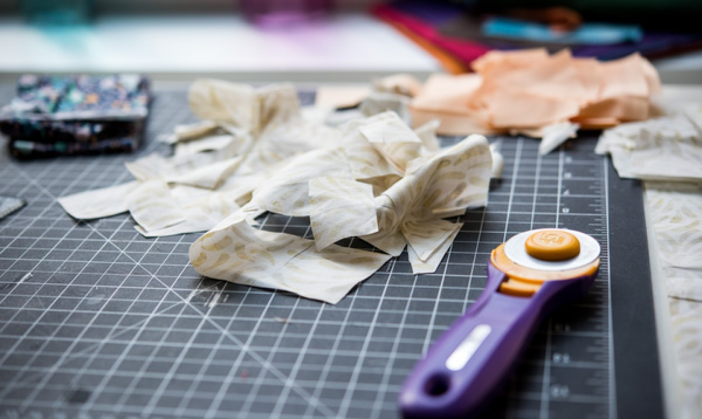 rotary cutter and fabric scraps