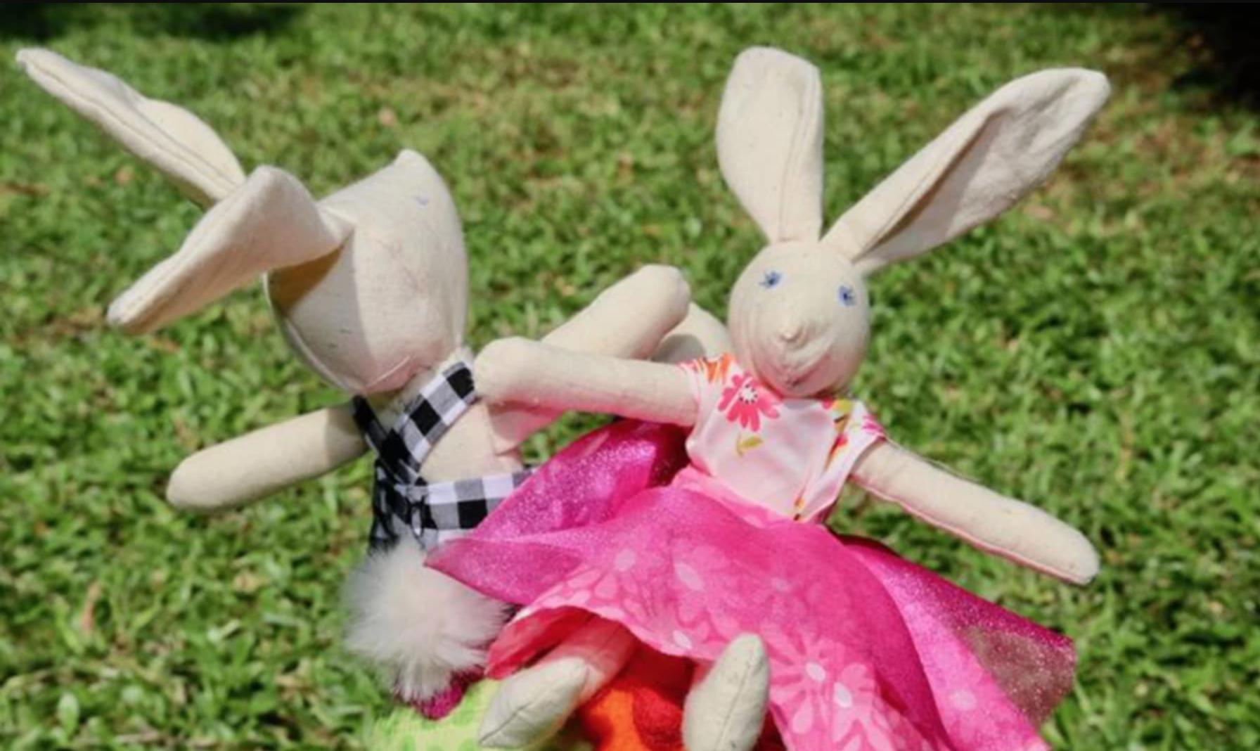 two send bunny dolls