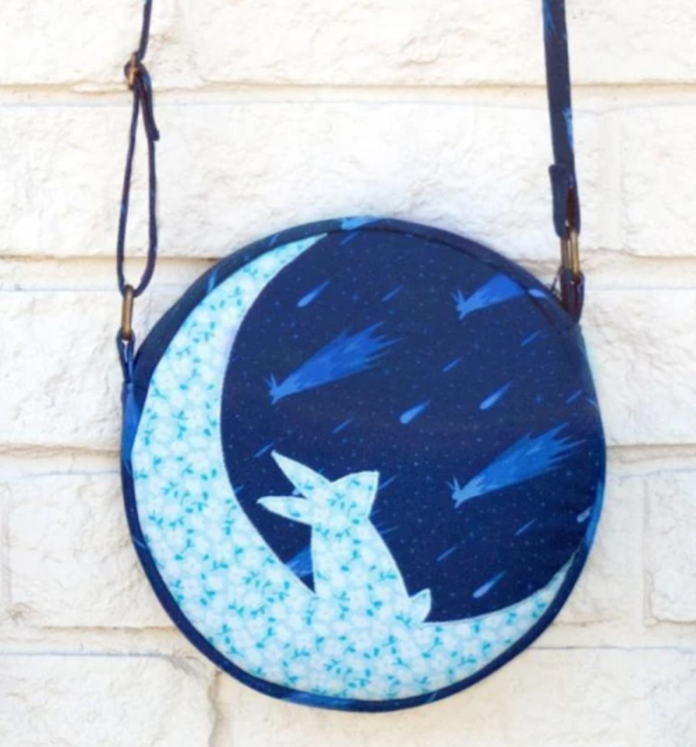 blue round moon bunny bag
