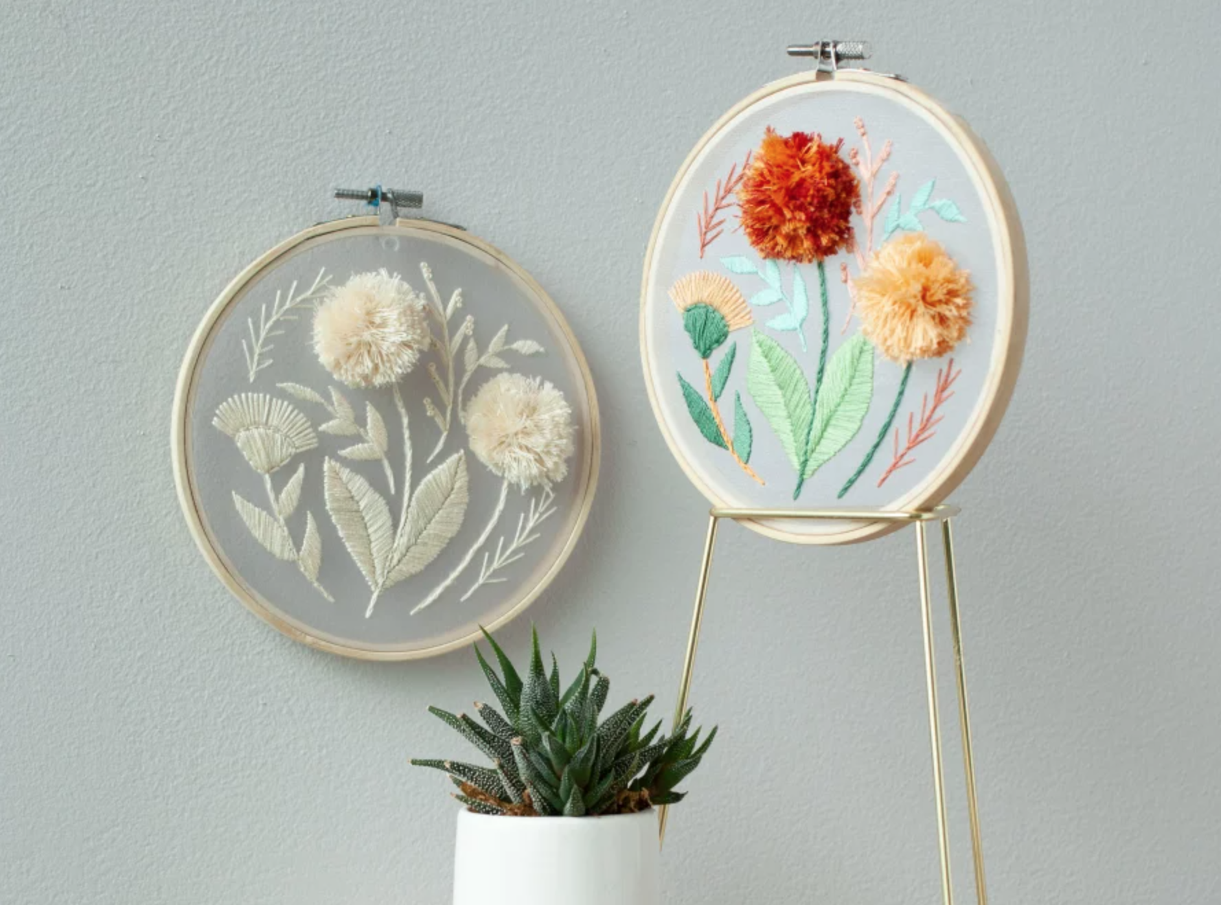 sheer embroidered pom pom flowers