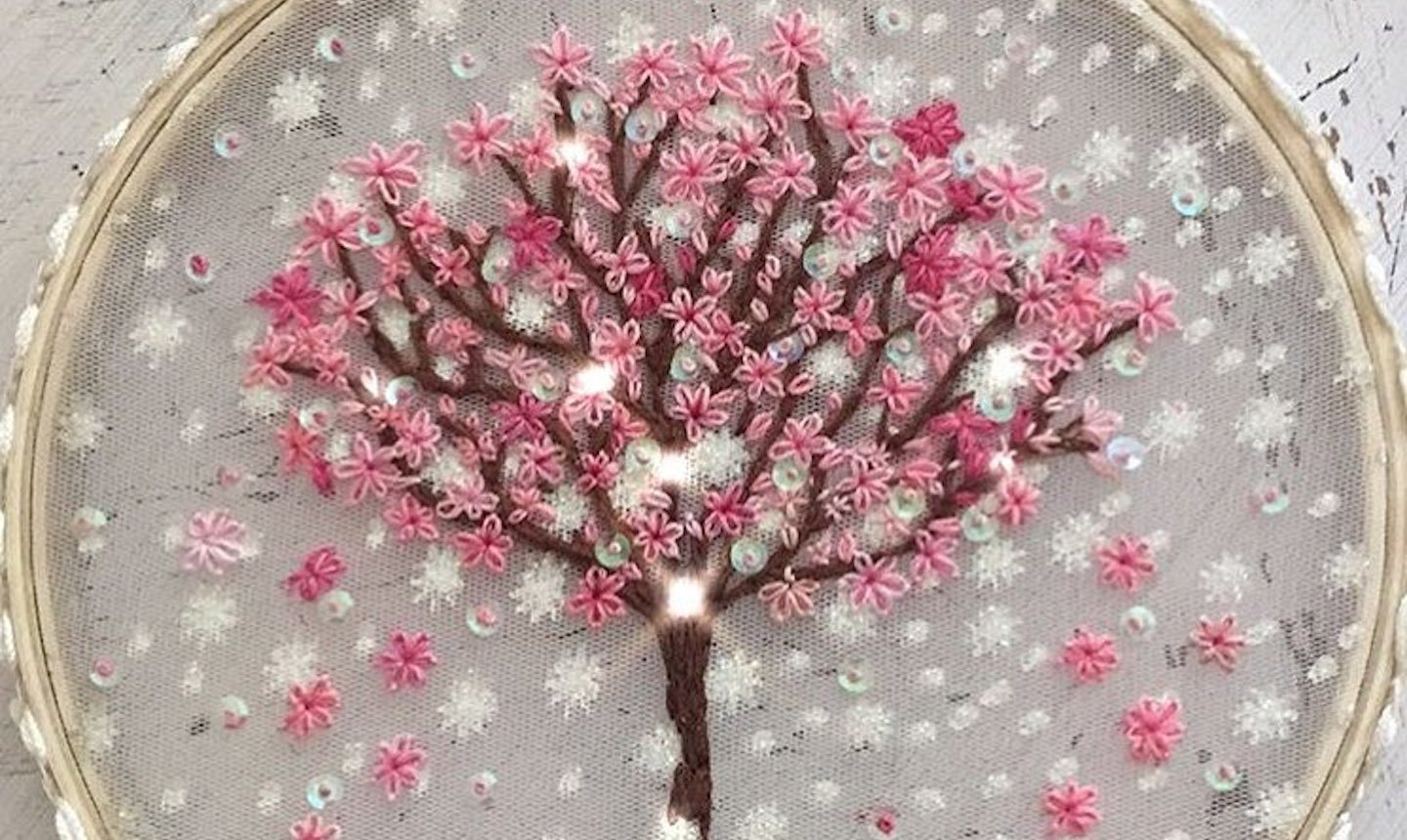 sheer embroidered cherry tree