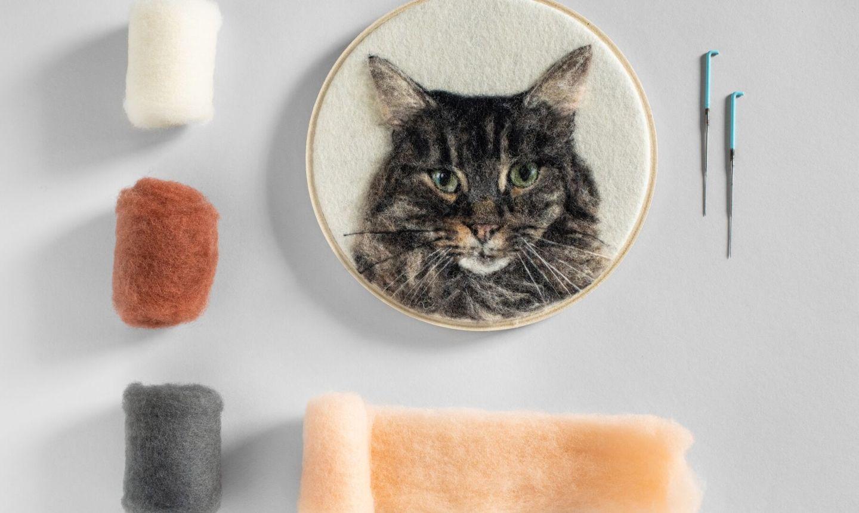 needle felted cat portrait