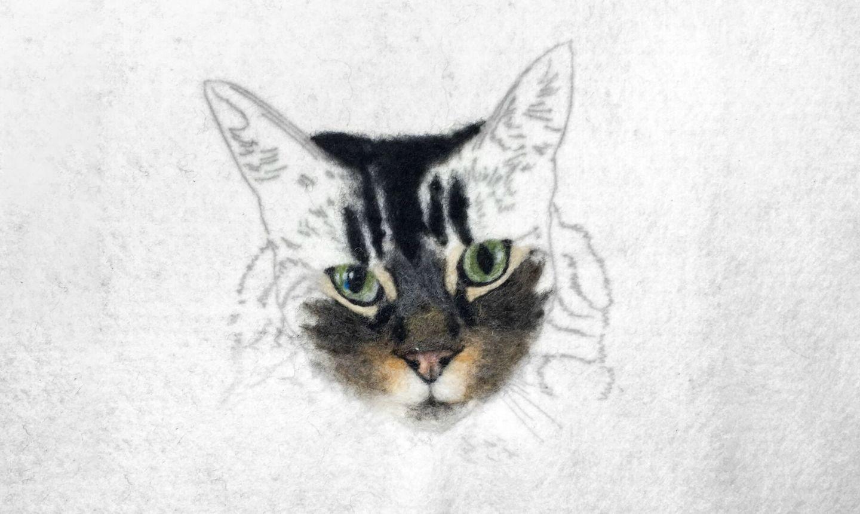 needle felted cat head