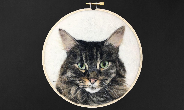 hooped needle felted cat portrait