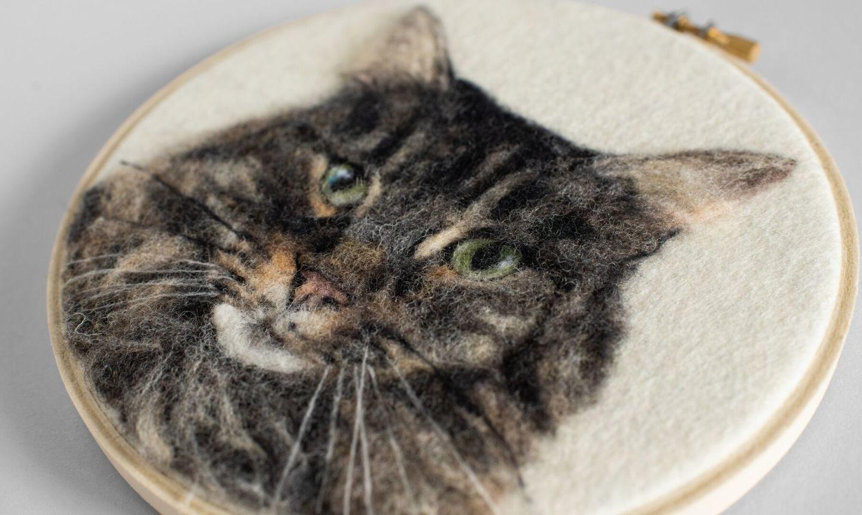 detail needle felted cat portrait
