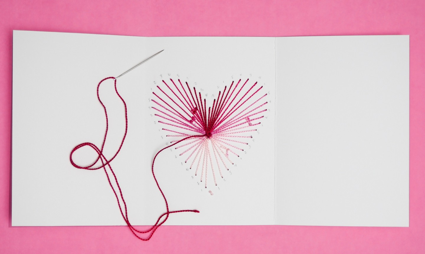 stitching ombre heart card