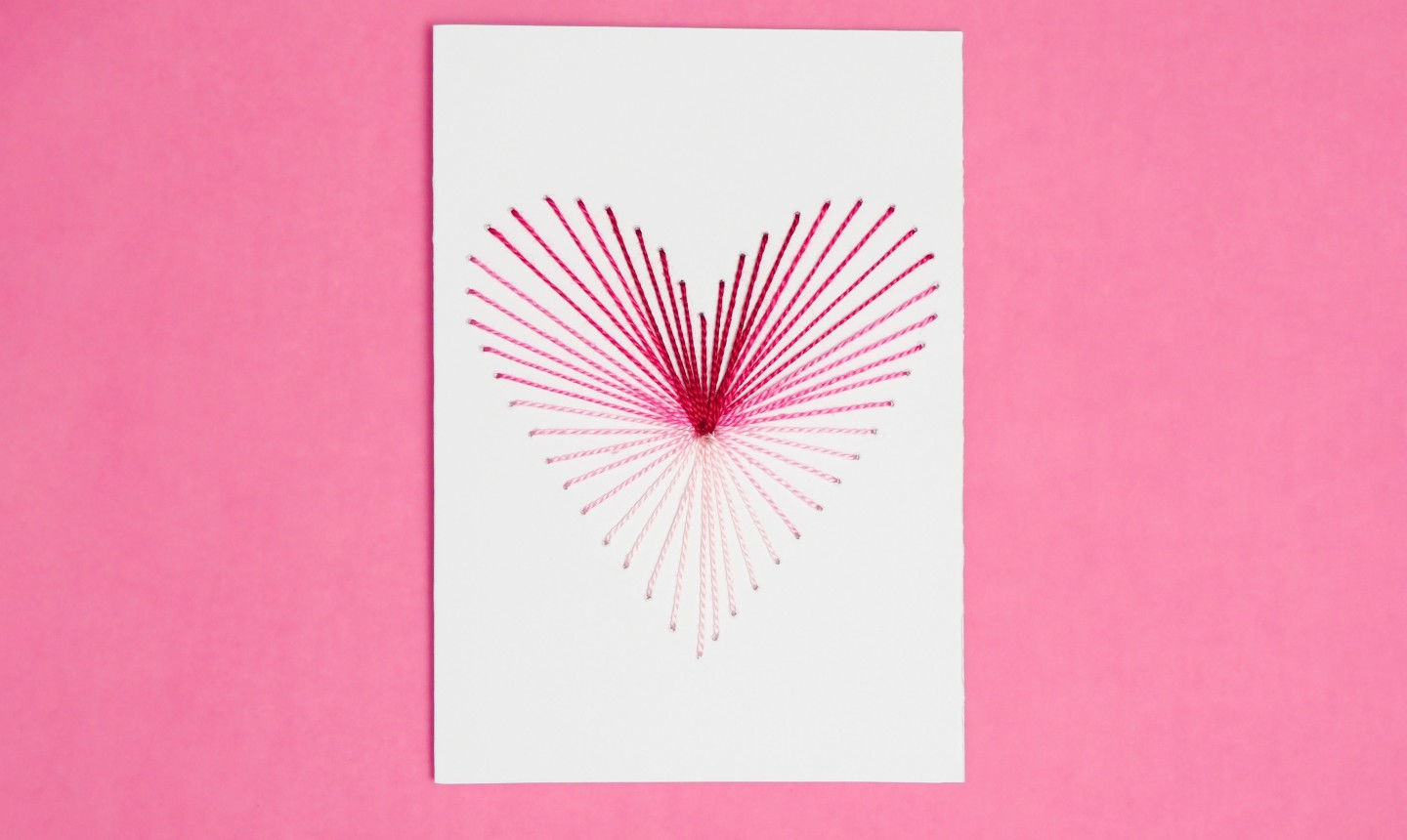 finished ombre embroidered heart card
