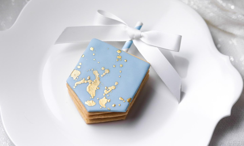 decorated dreidel cookie