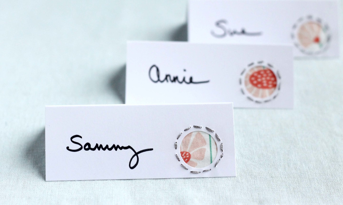 embroidered place cards