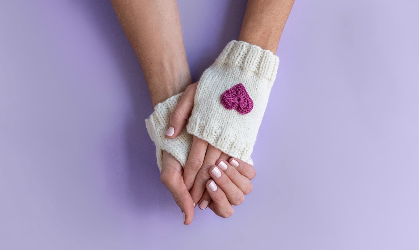 fingerless knit gloves with embroidered heart