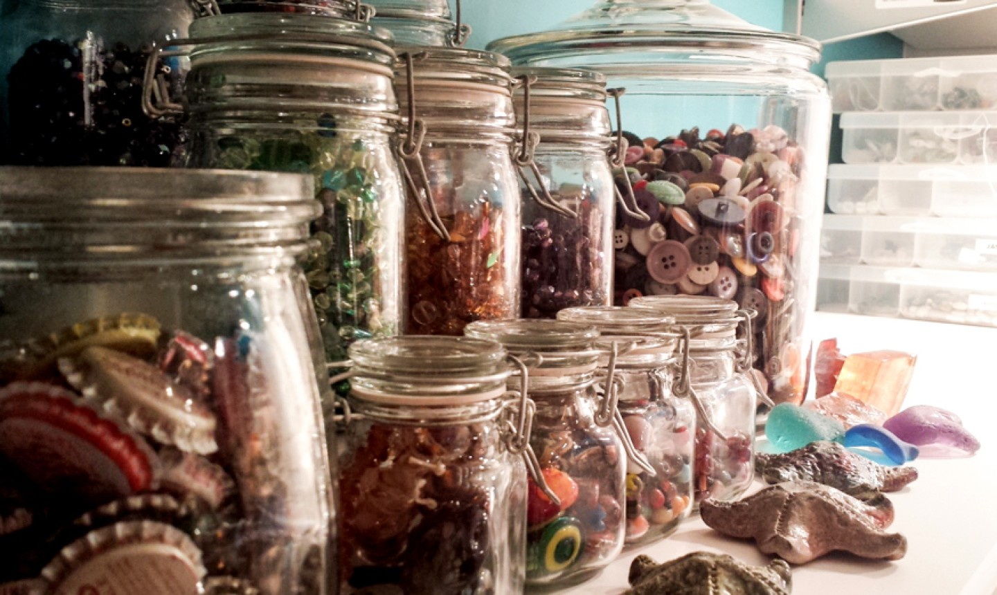 stored supplies in glass jars