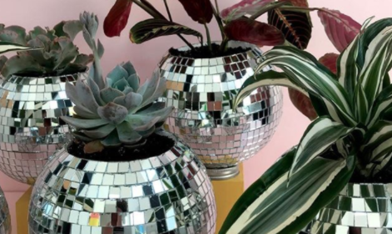 disco ball succulent planters