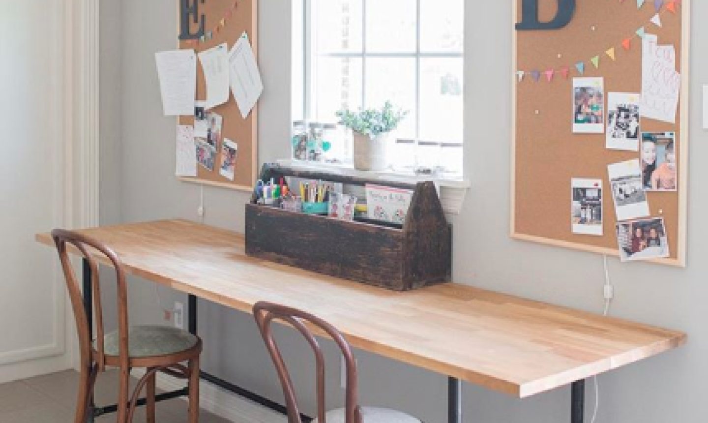 craft space with wooden table