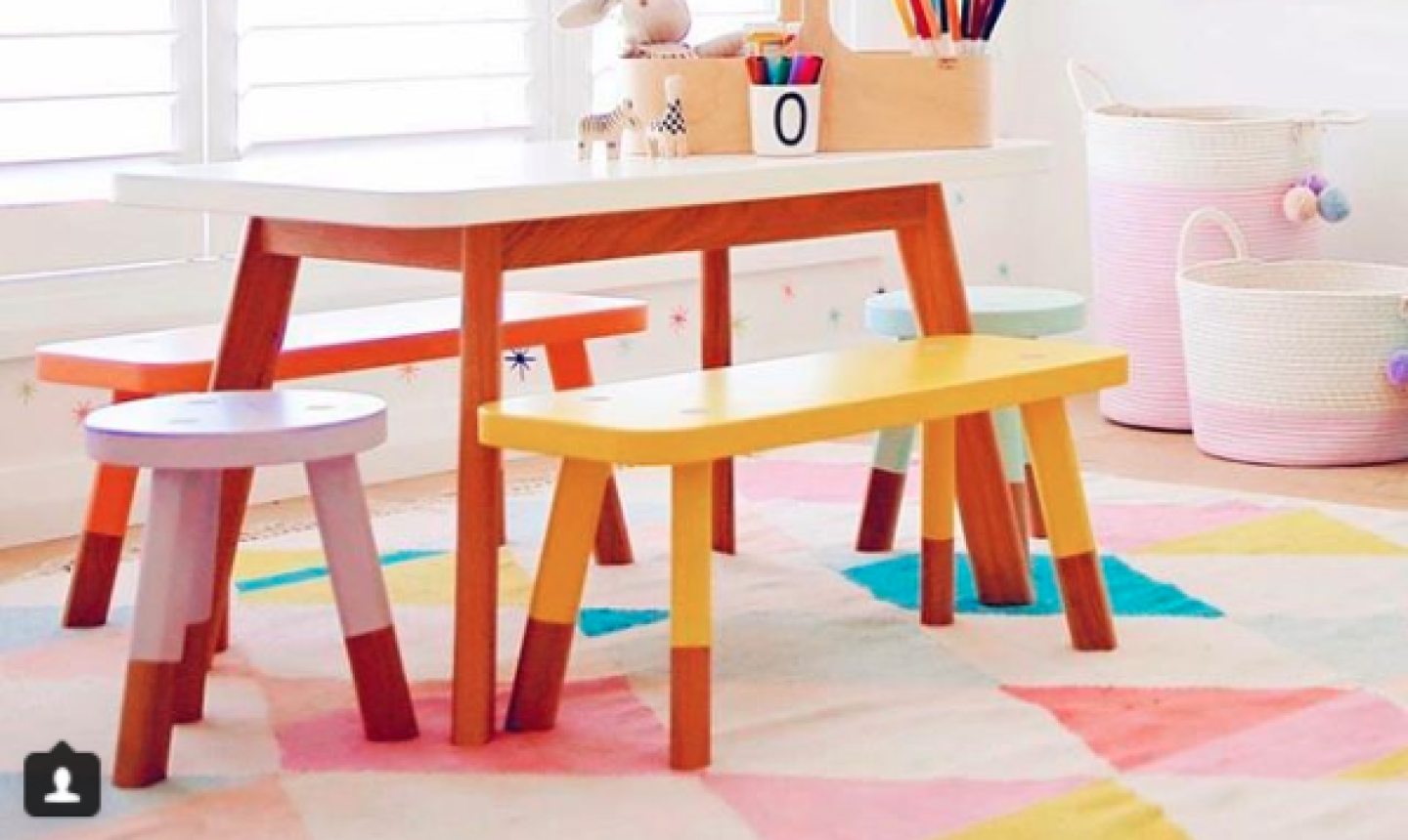colorful kids crafting station
