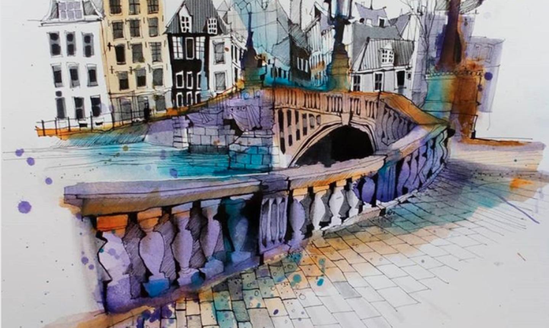 ink and watercolor travel sketch of bridge