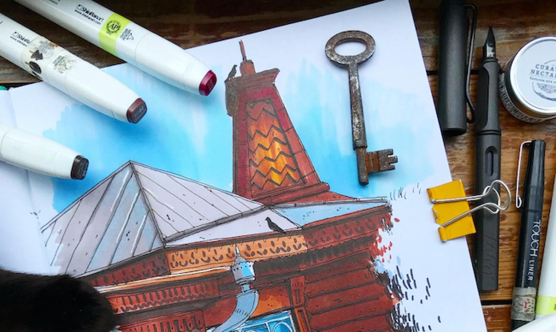 travel sketching building