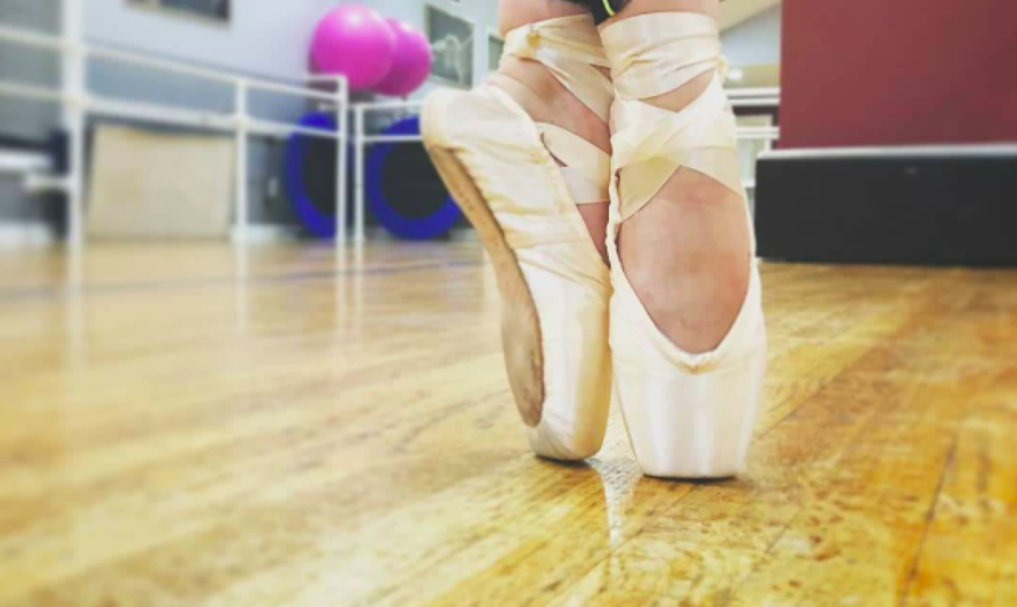 on pointe ballet slippers