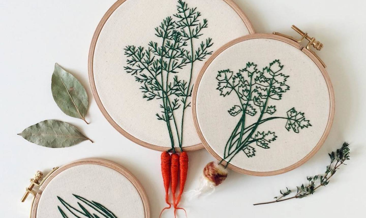 3d vegetable embroidery hoops