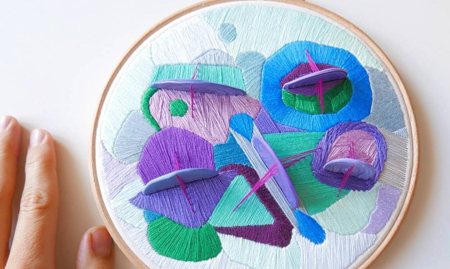 colorful 3d embroidery shapes