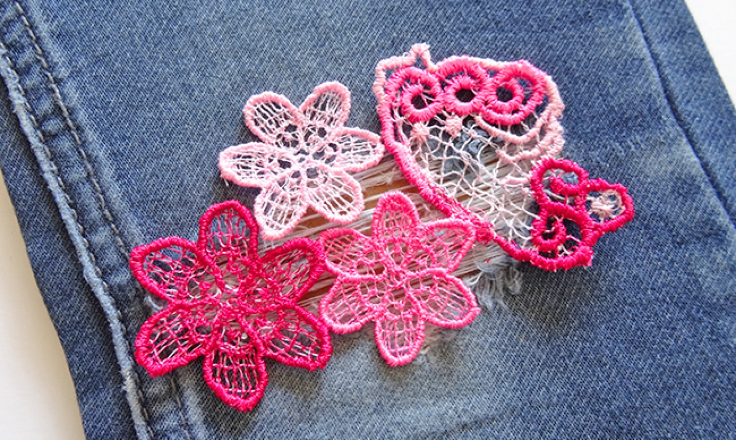 lace flower patches on jeans