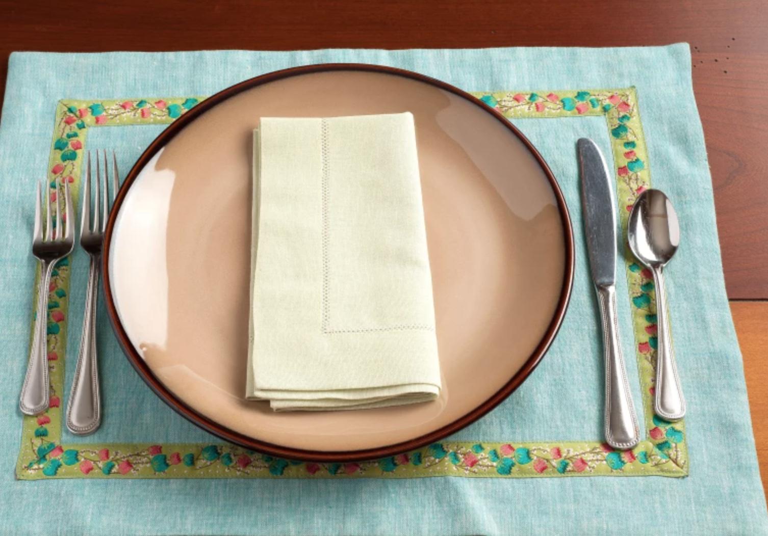 mitered table napkin