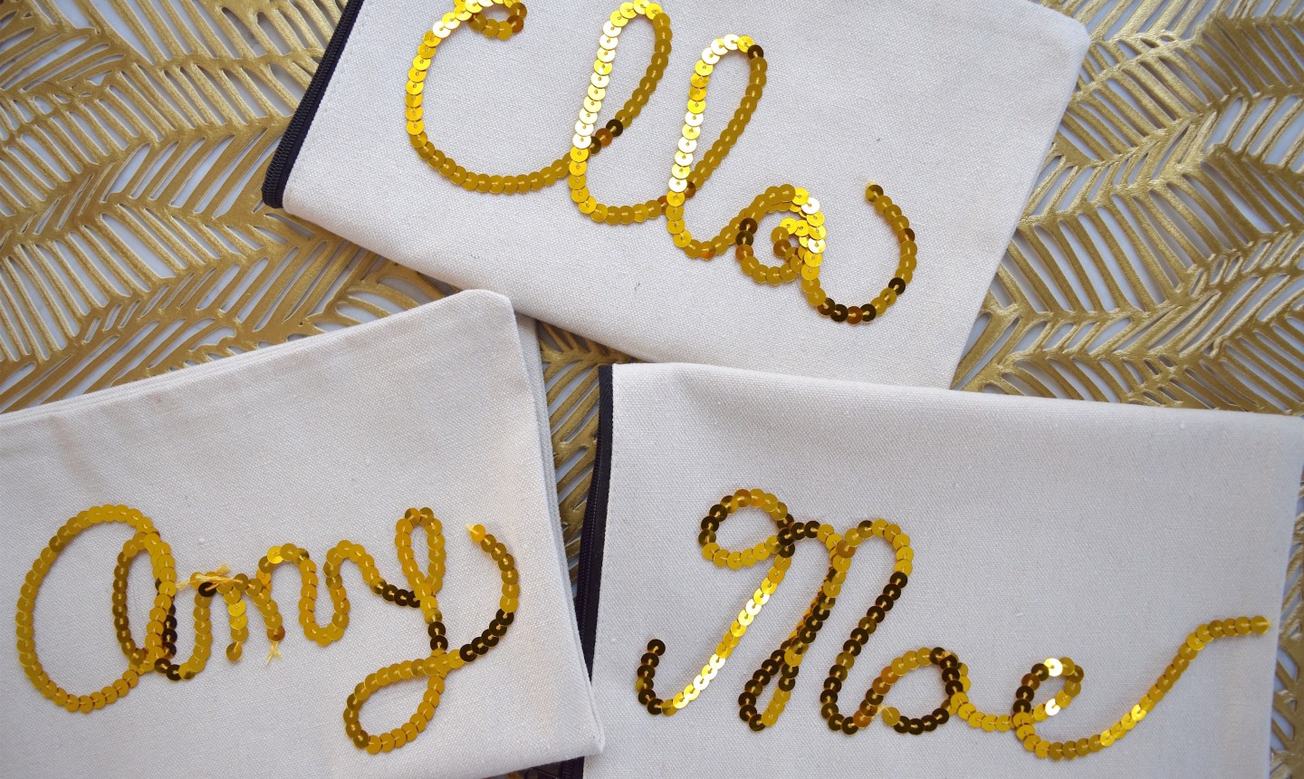 sequined makeup bags