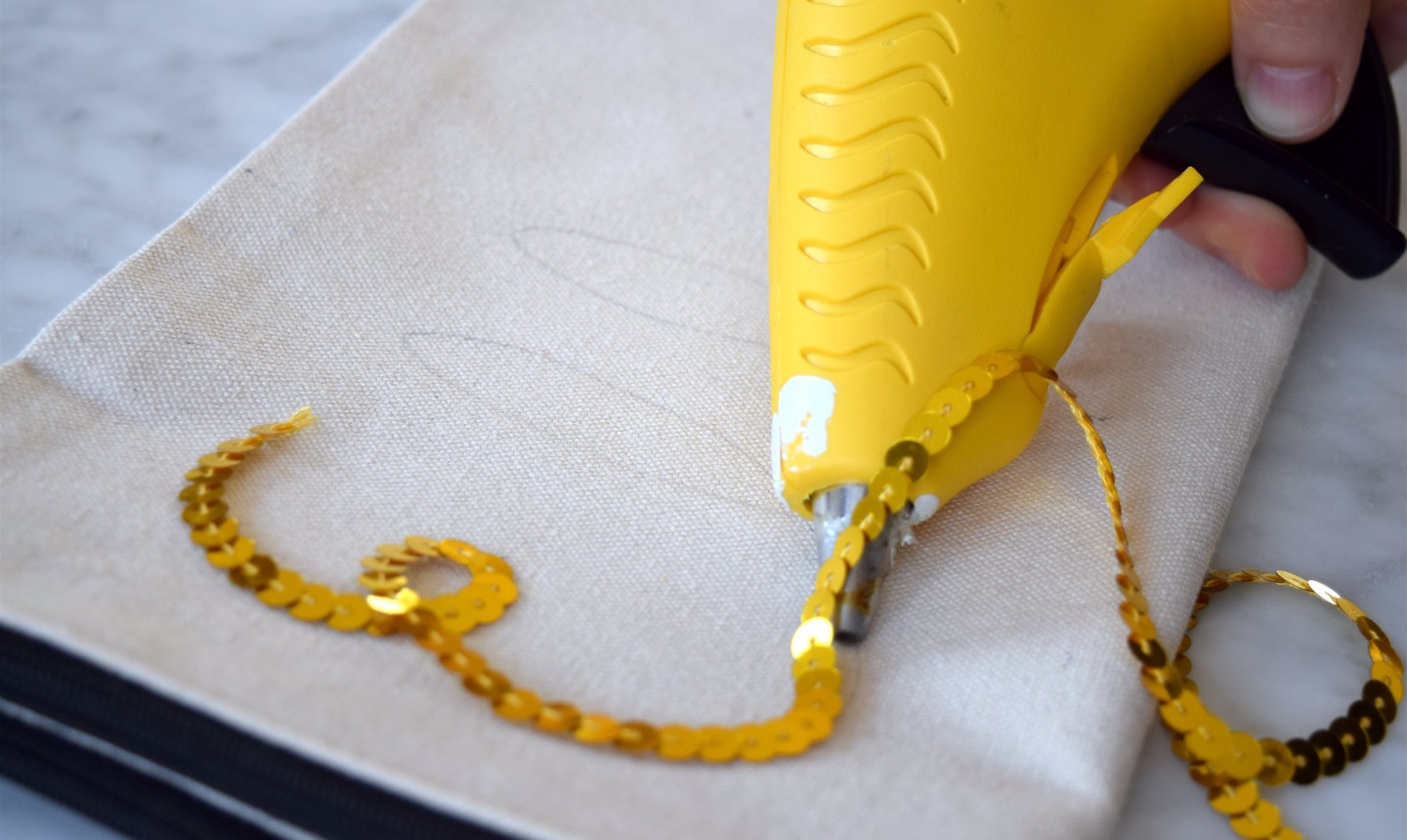 gluing sequin string