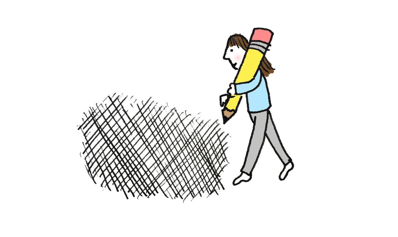 illustration of girl cross hatching
