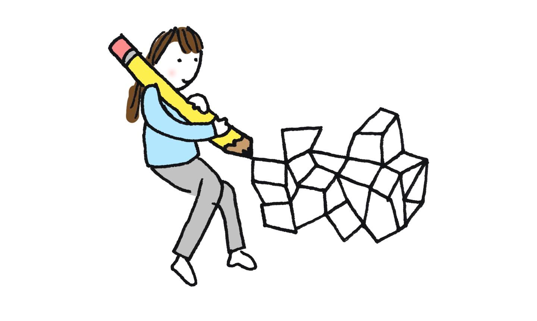 illustration of girl doodling geometric shapes
