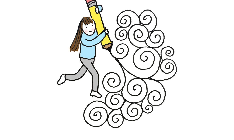 illustration of woman doodling swirls