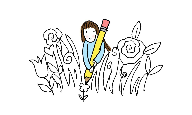 illustration of girl doodling flowers