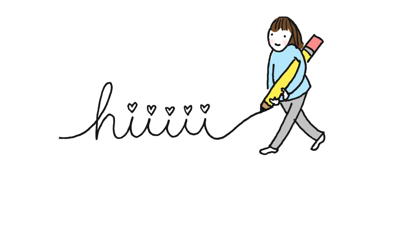 illustration of girl doodling words