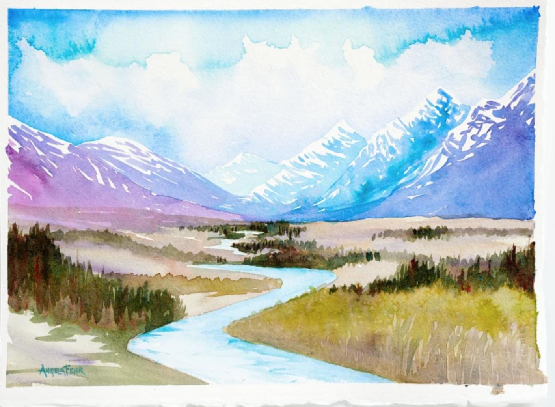 watercolor sketch landscape