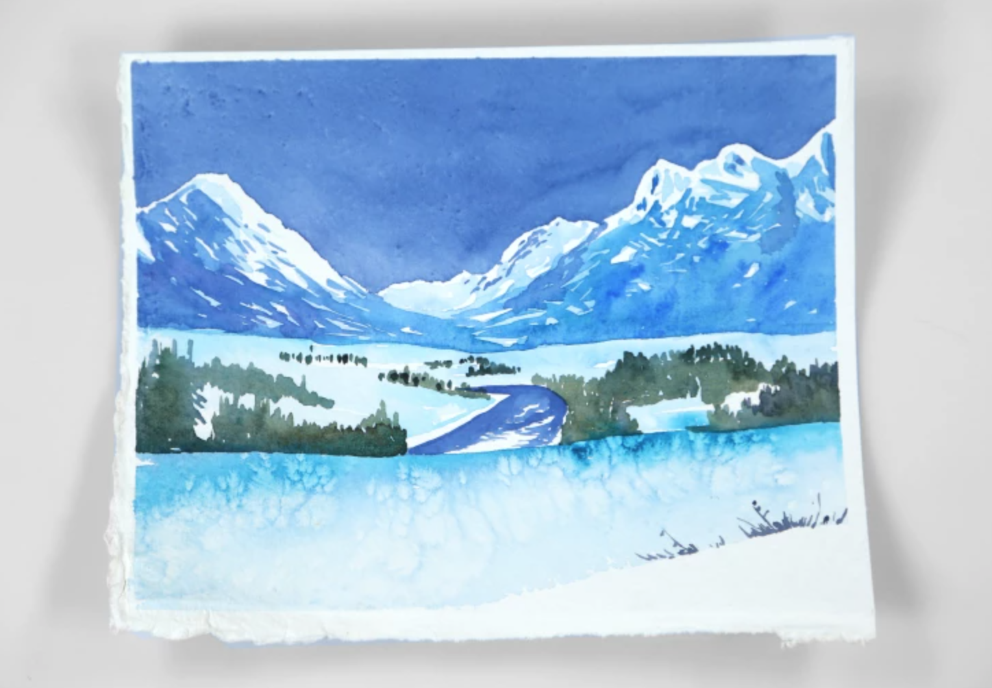 watercolor snowy mountain painting