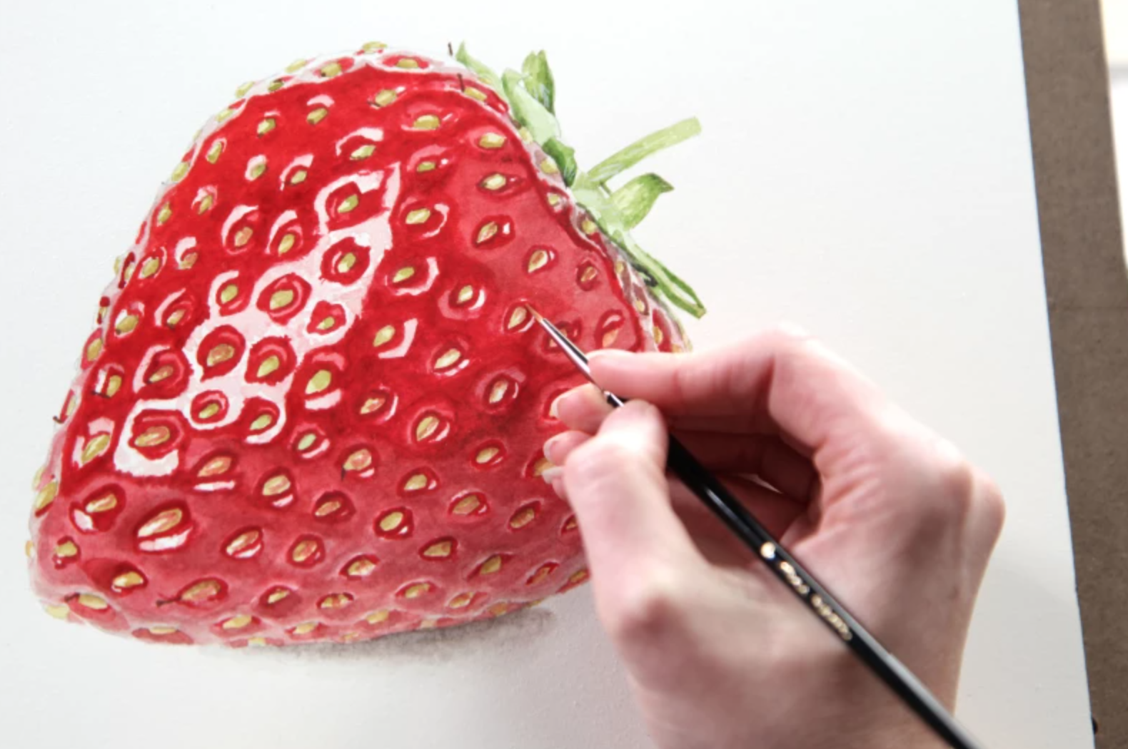 painting watercolor strawberry