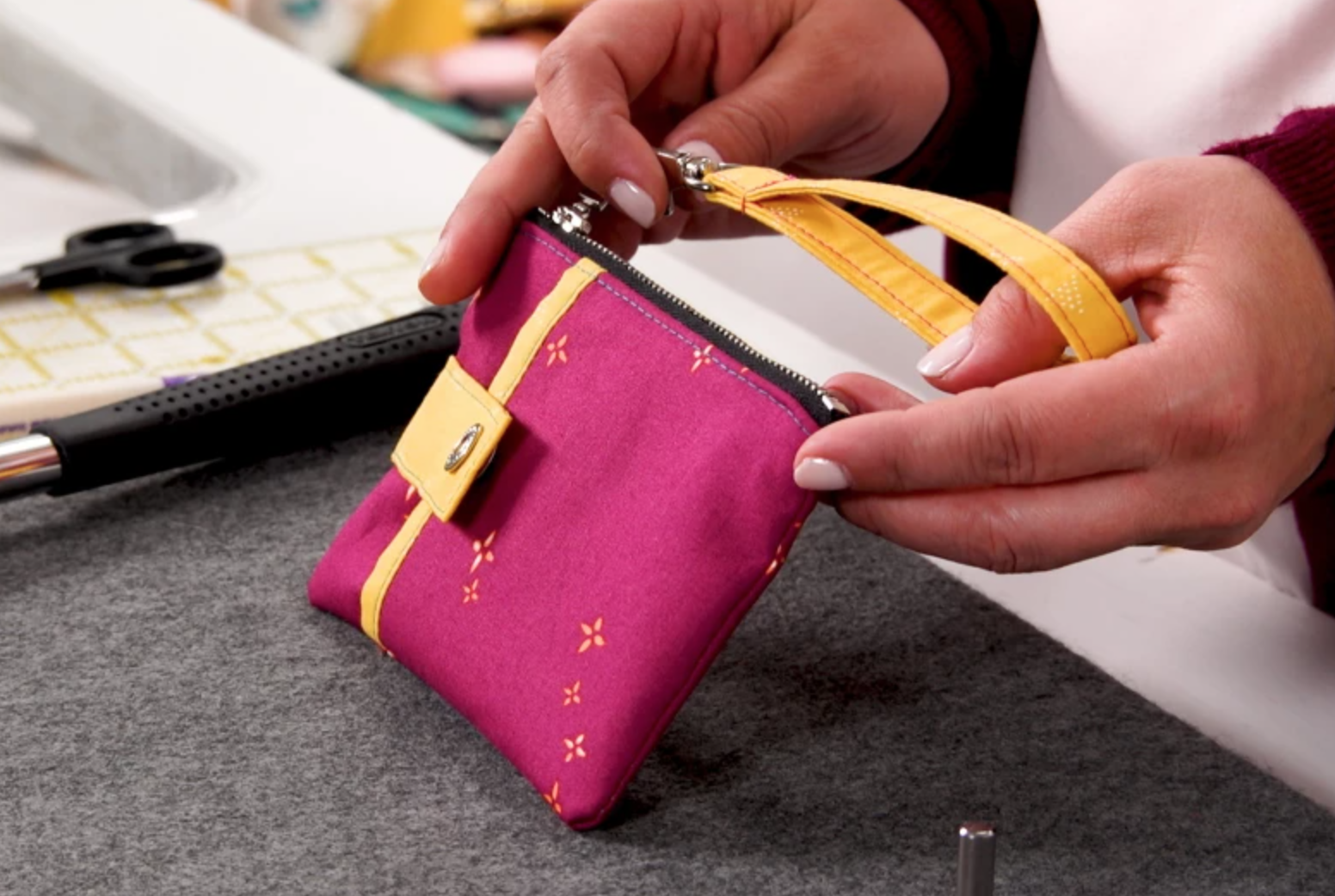 sewn clutch bag